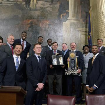 Rep. Greg Vitali welcomes and honors the National Champion Villanova University men's basketball team with a citation on the House floor.