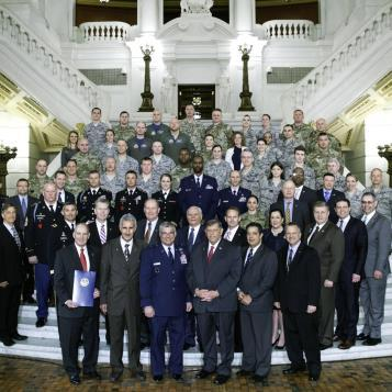Rep. Chris Sainato, the Democratic Chairman of the House Veterans Affairs Committee, and Rep. Jared Solomon, along with other elected officials, welcome PA National Guard Deputy Adjutant General, Brigadier General Anthony Carrelli, and members of the PA National Guard, as part of National Guard Day in Pennsylvania.