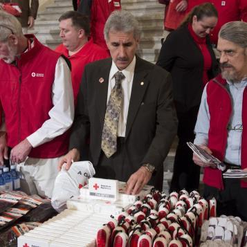 Our Photo of the Day features Rep. Chris Sainato, Chairman of the House Veterans Affairs & Emergency Preparedness Committee, at this morning's news event with the American Red Cross urging citizens to be prepared when disaster strikes.