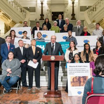 Rep. Dan Frankel, the Democratic Chairman of the House Health Committee, is joined by lawmakers and community advocates from Pennsylvania Health Access Network and Make It Our UPMC as he speaks to raise awareness of how the UPMC/Highmark split will affect all across Pennsylvania.