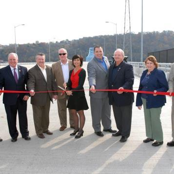 Rep. Bill Kortz takes part in the ribbon-cutting ceremony for the newly-refurbished William D. Mansfield Bridge connecting the three municipalities of Dravosburg, McKeesport & Glassport.