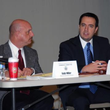 Rep. Burns, right, discusses economic development and job creation efforts in Pennsylvania during a House Commerce Committee hearing on the subject held in Windber.  Joining Rep. Burns is Robb Miller, Executive Director of the House Commerce Committee.