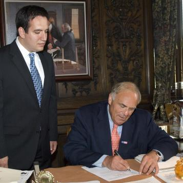 Rep. Burns joins Gov. Ed Rendell for the signing of Burns' legislation, Act 24 of 2009, which strengthens landscape architect registration in Pennsylvania.