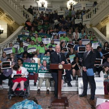 Rep. Dan Miller speaks at a Capitol rally with members of The ARC of PA, a branch of the largest nationwide advocacy organization for people with intellectual and developmental disabilities.