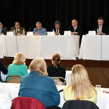 Rep. Dan Miller is joined by a number of his Allegheny County colleagues on a legislative panel highlighting what is being done by various governing bodies to move the conversation on mental health issues forward and push for greater awareness.  The panel wrapped up the second day of Rep. Miller's second annual Children and Youth Disability and Mental Health Summit.