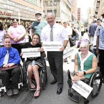 Rep. Dan Miller participates in a Disability March and Rally on the streets of downtown Pittsburgh to celebrate the 27th anniversary of the signing of the Americans with Disabilities Act.