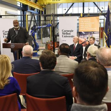 Rep. Jake Wheatley speaks at a press event as Governor Tom Wolf announced a new 'Innovation Plan' making the commonwealth a national competitor in attracting and retaining entrepreneurs and startups through strategic funding and community support.