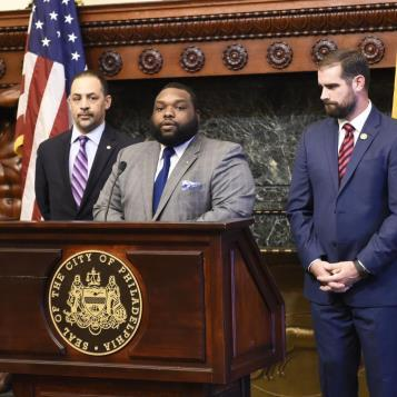 Rep. Jordan Harris, chairman of the Pennsylvania Legislative Black Caucus, is joined by his House Democratic colleagues, Rep. Chris Rabb and Rep. Brian Sims, in calling for passage of statewide legislation to protect minors from anti-LGBT conversion 'therapy.'
