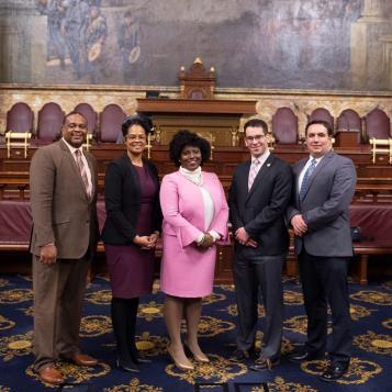 Rep. Frank Burns (far right) has been appointed a Deputy Caucus Chairman for House Democrats, positioning him to lend a conservative voice to the consideration of legislation and policy. Burns is shown here with (from left) fellow Deputy Chairs Rep. Ed Gainey, D-Allegheny, and Rep. Morgan Cephas, D-Philadelphia; Caucus Chair Rep. Joanna E. McClinton, D-Philadelphia/Delaware; and fellow Deputy Chair Rep. Mike Schlossberg, D-Lehigh.