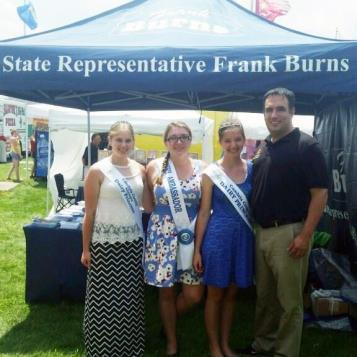 Rep. Frank Burns is pictured with Megan Faccani, Princess Alternate; Alexis McMullen, Ambassador; and Jessica New, Cambria County Dairy Princess, at the Jackson Township Heritage Festival in August 2015.