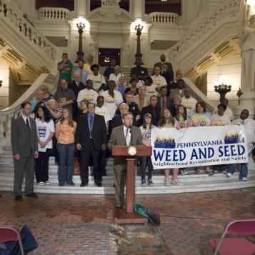 Rep. Bob Freeman speaks against Gov. Tom Corbett's proposed elimination of the Weed and Seed program in the budget. The program is a law enforcement/community revitalization effort targeting medium-sized communities whose inner cities are plagued by crime, violence and social deterioration.