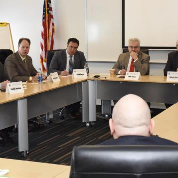 Rep. Frank Burns attends a House Democratic Policy Committee public roundtable to discuss workforce development.