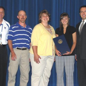 Rep. Burns presents a citation to Windber High School student Brea Neri. Neri is the recipient of the 2011-12 Pennsylvania House of Representatives Scholarship. Pictured from L-R are Windber High School Principal Ralph DeMarco, parents Dan and Anne Neri, Brea Neri and Rep. Burns.