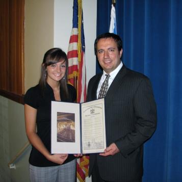 Rep. Burns presents a citation to Windber High School student Brea Neri. Neri is the recipient of the 2011-12 Pennsylvania House of Representatives Scholarship.