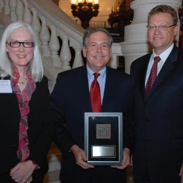 Rep. Freeman is pictured (center) after receiving the American Institute of Architects, Pennsylvania chapter, 2010 Government Award at a ceremony in the state Capitol recently. Also pictured with Freeman are Paula Maynes, AIA, Chairwoman, AIA Pennsylvania Government Affairs Committee and A. Stevens Krug, AIA, President of the AIA Pennsylvania Board of Directors.