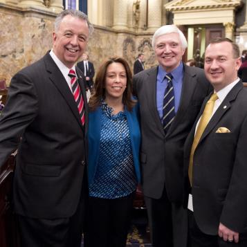 Our Photo of the Day returns us to the House Floor for swearing in as Appropriations Chairman Rep. Joe Markosek, Freshman Rep. Leslie Acosta, Democratic Leader Rep. Frank Dermody and Freshman Rep. Peter Schweyer share a moment on this important day.