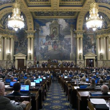 Gov. Tom Wolf presents proposals to a joint session of the General Assembly to combat the ongoing opioid and heroin drug problem in Pennsylvania.