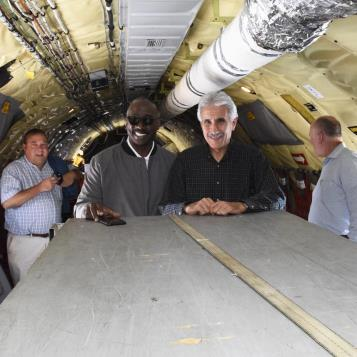Rep. Dan Williams and Democratic Chairman of the House Veterans Affairs and Emergency Preparedness Committee, Rep. Chris Sainato, are pictured on a plane before taking off to get a first-hand experience of a refueling flight which left from the Air National Guard complex in Coraopolis.