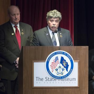 Rep. Dom Costa speaks at the Pennsylvania State Lodge of the Fraternal Order of Police's annual 'Memorial for Fallen Officers' to honor Pennsylvania police officers who gave their life in the performance of their duties.
