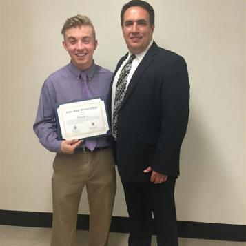 Rep. Burns presented Noah Byich of Vinco, a 2016 graduate of Central Cambria High School, with an appointment to Valley Forge Military College. The son of Kevin and Ann Byich, Noah plans to pursue the Security Studies Concentration of the college's  Justice and Security Studies AA Program.  Noah has a sister, Sophia Byich.