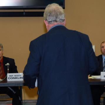 Rep. Conklin and fellow panelists receive public input on his proposed reforms designed to increase accountability and transparency within Penn State's Board of Trustees.