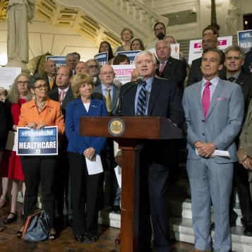 Democratic Leader Frank Dermody stands with advocates, stakeholders, and united Democrats at a Harrisburg rally in opposition to the Trumpcare bill that would bust Pennsylvania's budget, devastate hospitals and the healthcare industry, eliminate tens of thousands of jobs in our state and, worst of all, take's healthcare coverage away from nearly 1 million Pennsylvanians.