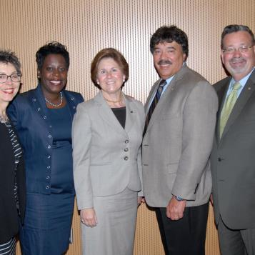 Participants in a House Select Committee on School Safety hearing at Slippery Rock University included, from left, Rep. Mary Jo Daley, Rep. Cherelle Parker, Slippery Rock President Cheryl Norton, Rep. Dom Costa and Rep. Mike O'Brien.