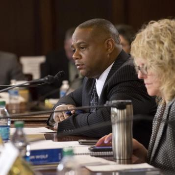 During House Appropriations Committee Budget Hearings, Rep. Ed Gainey listens to the testimony of Pennsylvania Auditor General Eugene DePasquale.