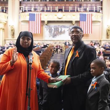 Rep. Movita Johnson-Harrell becomes the first Muslim woman to serve in the Pennsylvania House of Representatives as she is sworn in as a state Representative.