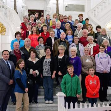 Rep. Frank Burns welcomes friends and neighbors from the 72nd legislative district to the state capitol in December 2015.