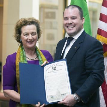 As we celebrate St. Patrick's Day, state Rep. Marty Flynn presented a citation to the Consul General of Ireland, Barbara Jones, recognizing Irish-American Heritage Month in Pennsylvania.