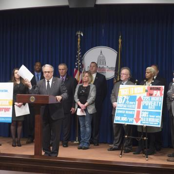 Rep. Eddie Day Pashinski is joined by advocates and a bipartisan group of legislators to oppose legislation aimed at robbing Americans of their right to negotiate for fair pay and benefits.