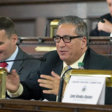 Rep. Paul Costa, the Democratic Chairman of the Liquor Control Committee, makes a comment after receiving an update on the implementation of Act 39 of 2016, which allows for the sale of wine in restaurants, grocery stores and other to-go establishments.