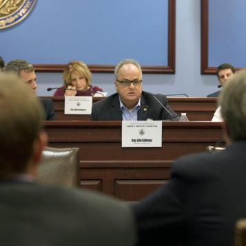 Rep. John Galloway, the Democratic Chairman of the House Labor and Industry Committee, comments at a public hearing on legislation aimed at regulating what drugs can be prescribed to individuals on workers compensation.
