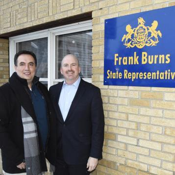 Rep. Frank Burns welcomes House Democratic Appropriations Chairman Matt Bradford to Ebensburg to discuss funding priorites ahead of the 2019-20 budget discussions.