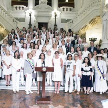 Member of the House of Representatives celebrate the 100th Anniversary of Pennsylvania's ratification of the 19th Amendment.