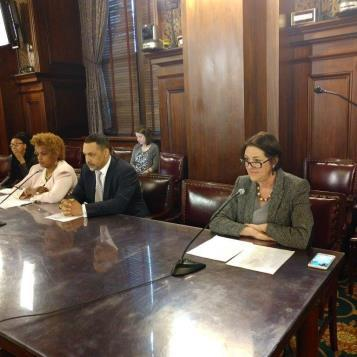 Rep. Madden testifies about her legislation that would protect employees from workplace harassment at every company in Pennsylvania during a House Labor and Industry Committee hearing at the state Capitol.