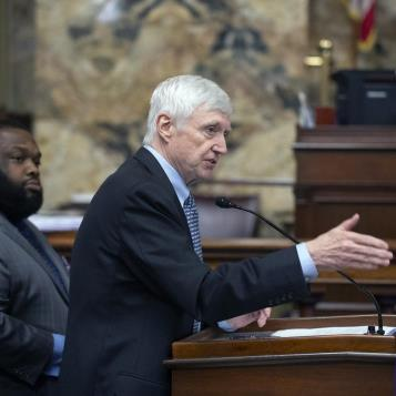 Democratic Leader Frank Dermody makes comments during the House debate on the 2019-20 state budget.
