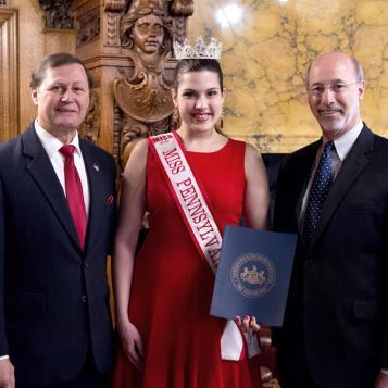 Our Photo of the Day features Rep. Bill Kortz joining Governor Tom Wolf in welcoming USA National Miss Pennsylvania Susan Fancsali to the Capitol.