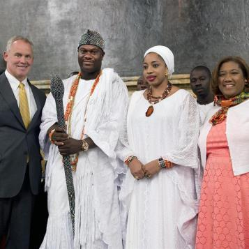 Rep. Vanessa Brown and Speaker Mike Turzai welcome His Imperial Majesty, from the Federal Republic of Nigeria, the Ooni of Ife, Ooni Adeyeye Enitatn Babatunde Ogunwusi, Ojaja II, and his wife, the Queen, to Harrisburg.
