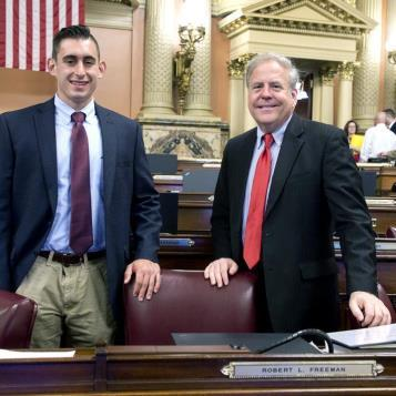 Representative Freeman and his Intern enjoy a day at the Pennsylvania State Capitol.
