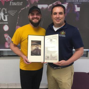 "Rep. Burns (right) recently presented a citation to Josh Gallagher, of Cresson, who became a finalist on NBC's ""The Voice"" and has performed at the Country Music Hall of Fame. He currently resides in Nashville and continues pursuing his dream of becoming a country music artist and songwriter."