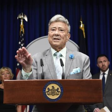 Rep. Tony DeLuca speaks at a Harrisburg news conference to discuss proposed legislation dealing with modernizing Pennsylvania's voting rules by offering bills that would create a process to allow same-day voter registration and create an early voting window.
