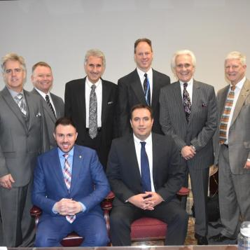 Rep. Burns, seated at right, was elected chairman of the Northwest Democratic Delegation for the 2017-18 legislative session. Seated next to Burns is Rep. Ryan Bizzarro, vice chairman. Standing (from left) are Rep. Scott Conklin, treasurer,; Rep. Pat Harkins, secretary; and Reps. Chris Sainato, Mark Longetti, Flo Fabrizio and Bryan Barbin.