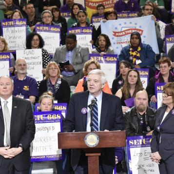 Democratic Leader Frank Dermody speaks at a Capitol rally urging the passage of legislation to fund the Unemployment Call Centers that help thousands of out-of-work Pennsylvanians get the benefits and assistance they need.