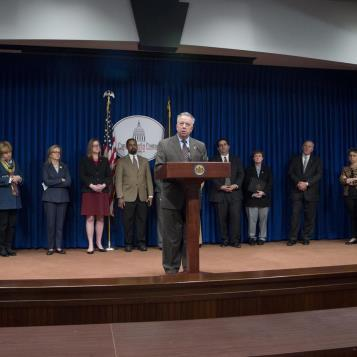 Rep. Joe Markosek, the Chairman of the House Appropriations Committee, is joined by Senate Democrats, House Appropriation members, and cabinet members from the Wolf Administration, to discuss the negative impact the proposed Congressional Health Care legislation would have on Pennsylvanians.