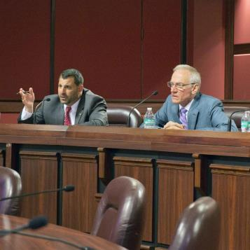"Rep. Mark Rozzi hosts a special panel discussion on statutes of limitation reform efforts in Pennsylvania. Pictured with Rep. Rozzi are Phil Saviano, a Boston survivor of Catholic clergy abuse depicted in the Academy Award-winning film ""Spotlight"", and Patricia Dailey Lewis, executive director of the Beau Biden Foundation for the Protection of Children."