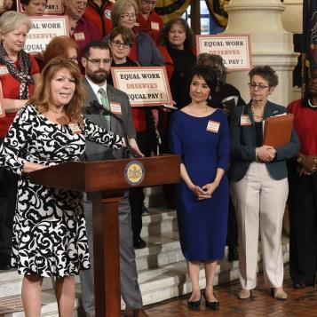 Rep. Tina Davis joins advocates at a Capitol rally called to close the gaps in the Pennsylvania's outdated Equal Pay Law. Rep. Davis is a chief sponsor of House Bill 1160, which would reduce the excuses for paying women less than men