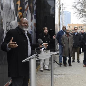 Rep. Jake Wheatley speaks outside the National Hockey League's Mobile Museum to discuss and recognize Black Hockey History.