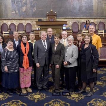Rep. Bob Freeman is joined by a group of survivors and supporters of his House Resolution, HR 241, recognizing Bladder Cancer Awareness Month.